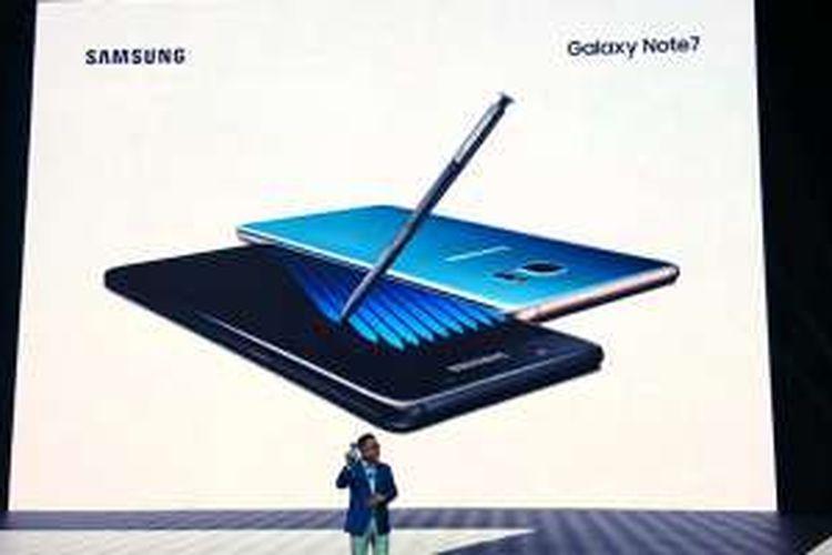 DJ Koh, Samsung Electronics Mobile Chief mengenalkan Galaxy note 7 di acara peluncuran di New York, AS, Selasa (2/8/2016).