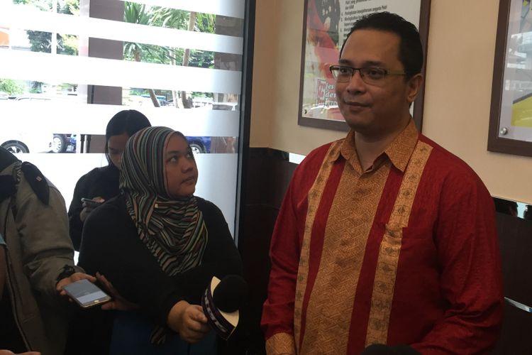 Pelapor Ahmad Dhani, Jack Lapian, di Polres Jakarta Selatan, Kamis (15/2/2018).