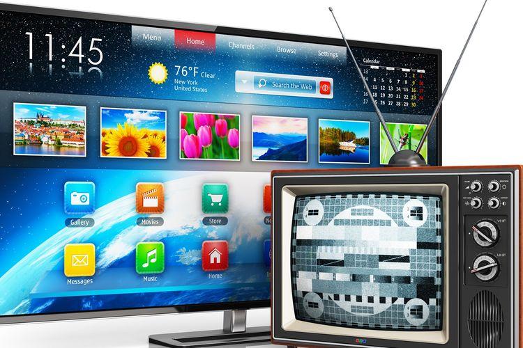 Ilustrasi tv analog dan tv digital