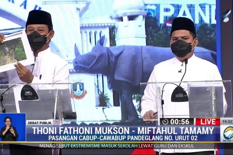 Dua pasangan calon Bupati-Wakil Bupati Pandeglang mengikuti debat Pilkada 2020, Jumat (4/12/2020)