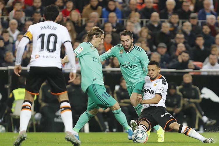 Laga Valencia Vs Real Madrid pada putaran pertama Liga Spanyol musim 2019-2020, 15 Desember 2019.