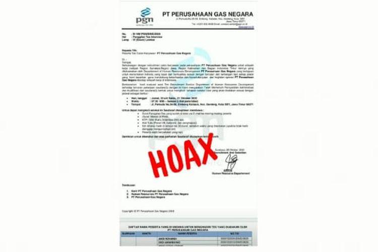 Surat penipuan rekrutmen pekerja mengatasnamakan Perusahaan Gas Negara.