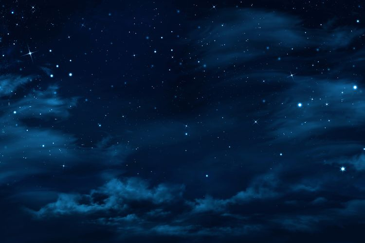 Ilustrasi langit malam hari tampak berwarna hitam.