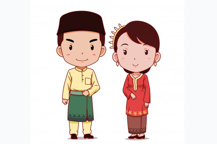 Ilustrasi baju tradisional Malaysia