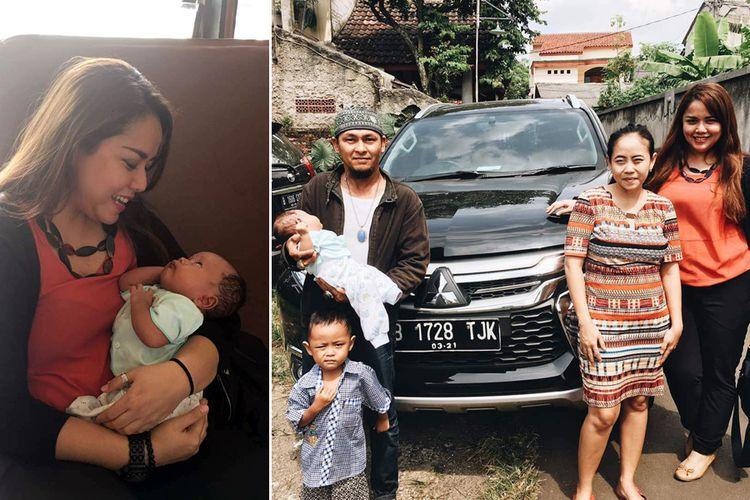 Bayi Pajero Sport digendong Head of PR & CSR MMKSI, Intan Vidiasari (kiri). Keluarga Pajero Sport dan Intan di depan SUV Pajero Sport.