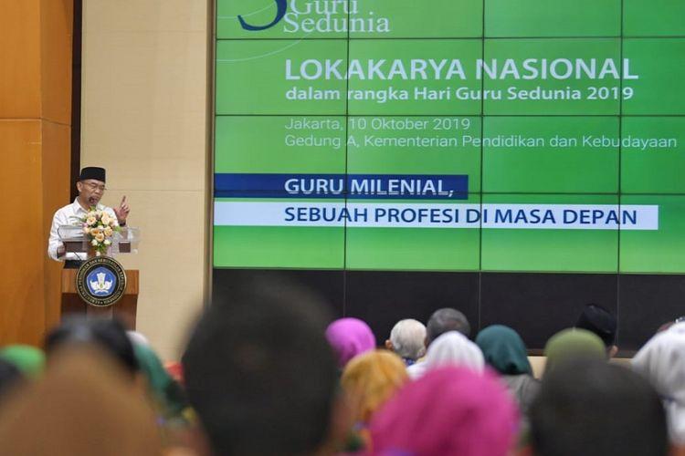 Lokakarya dengan tema ?Guru Milenial: Sebuah Profesi di Masa Depan?, Kamis (10/10/2019) di kantor Kemendikbud, Senayan, Jakarta.