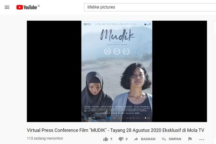 Film Mudik yang dibintangi oleh Putri Ayudya dan Ibnu Jamil, tayang ekslusif pada 28 Agustus di Mola TV.