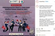 Pendaftaran SNMPTN 2021 Diperpanjang sampai Siang ini, Segera Finalisasi