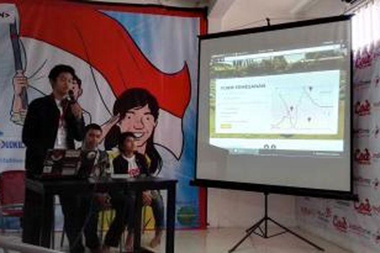 Salah satu tim peserta Hackathon Merdeka 2.0 sedang mempresentasikan karya mereka dalam tahap penjurian di Code Margonda, Depok, Minggu (25/10/2015). Acara yang sama dilaksanakan serentak di 28 kota dengan peserta mencapai 1.700 orang.