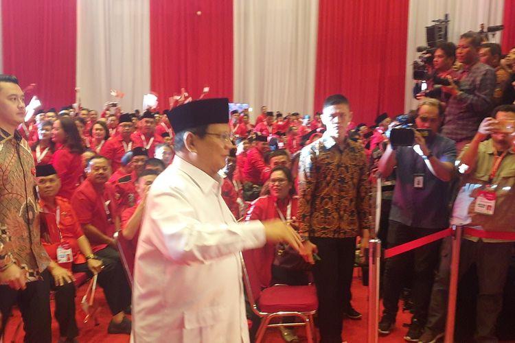 Menteri Pertahanan Prabowo Subianto turut menghadiri HUT Rapat Kerja Nasional (Rakernas) I PDI-P di Jakarta International Expo, Kemayoran, Jumat (10/1/2020).