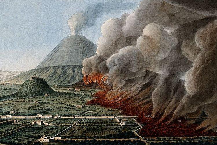 Ilustrasi letusan Gunung Vesuvius digambar oleh Pietro Fabris di tahun 1760.