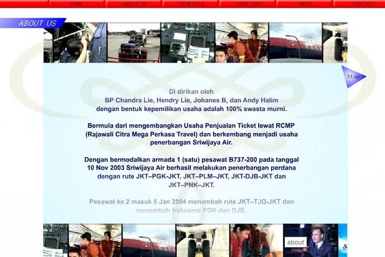 Laman Sriwijayaair-online.com dari halaman Web Archive, yang menampilkan informasi sejarah Sriwijaya Air yang bermula dari usaha tiket Rajawali Citra Mega Perkasa (RCMP).