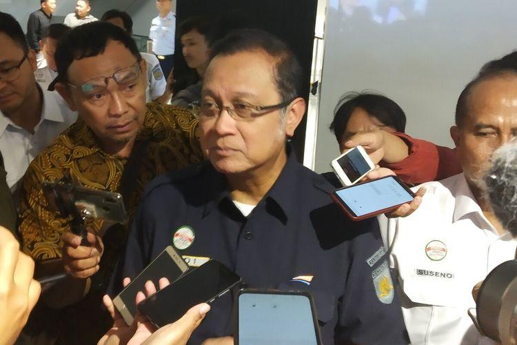 Edi Sukmoro saat soft launching KA Bandara Adi Soemarmo di Solo, Jawa Tengah, Minggu (29/12/2019).