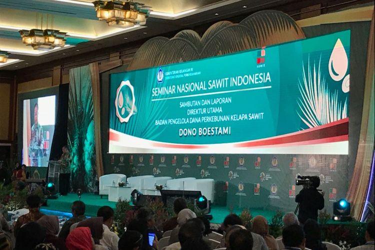 Suasana Seminar Nasional Sawit yang diadakan oleh Badan Pengelola Dana Perkebunan Kelapa Sawit di Hotel Borobudur, Senin (20/8/2018).