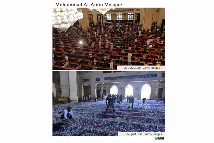 Masjid Mohammad Al Amin di Beirut, Lebanon, sebelum dan sesudah ledakan terjadi.