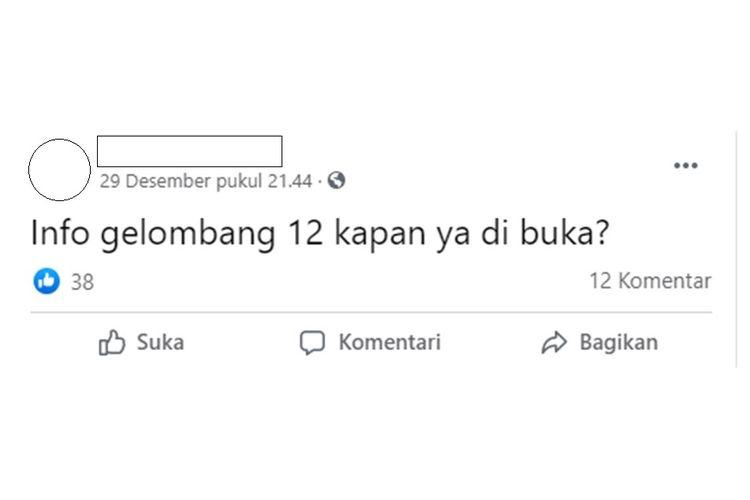 Tangkapan layar salah satu akun media sosial yang mempertanyakan kapan program Kartu Prakerja gelombang 12 akan dibuka.