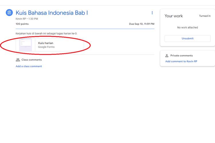 Cara memilih kuis yang ingin dikerjakan di Google Classroom.