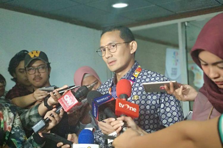 Wakil Gubernur DKI Jakarta Sandiaga Uno di Balai Kota, Kamis (12/7/2018).
