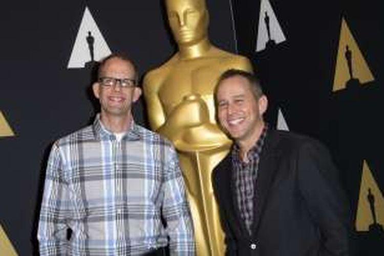 Peter Docter (kiri) dan Jonas Rivera dengan karya mereka Inside Out hadir dalam Academy Awards Oscar Week Celebrates Animated Features 2016 di Beverly Hills, California, AS, pada Kamis (25/2/2016) waktu setempat.