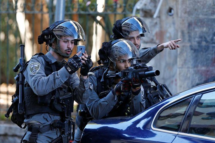 Tentara penjaga perbatasan Israel berjaga saat terjadinya aksi demonstrasi di Yerusalem Timur, Desember 2017.