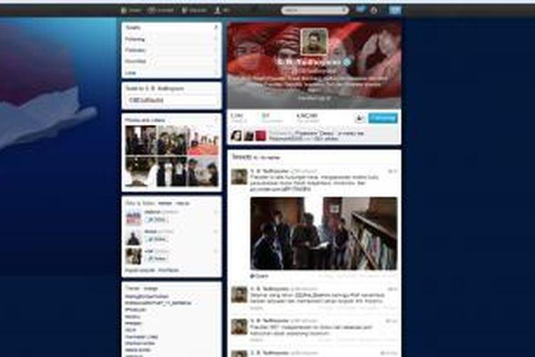 Akun Twitter Presiden Susilo Bambang Yudhoyono dengan ucapan ulang tahun untuk putra keduanya, Edhie Baskoro Yudhoyono, Minggu (23/11/2013).