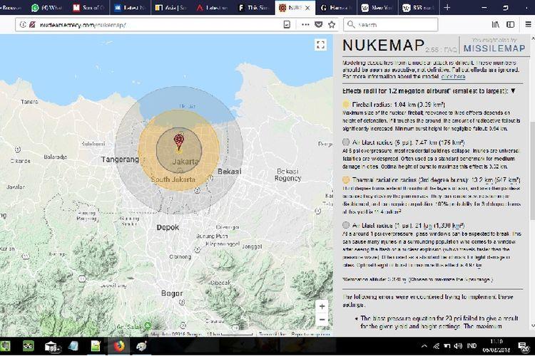 Simulasi sebuah bom nuklir jika dijatuhkan di Jakarta.
