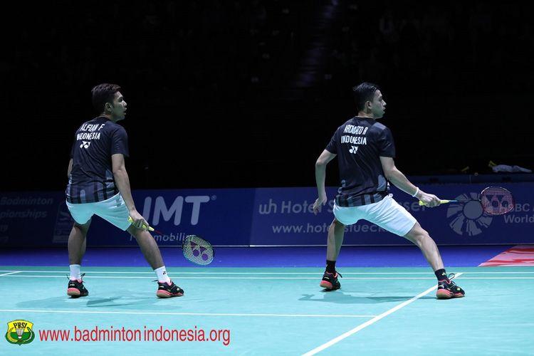 Pasangan ganda putra Indonesia, Fajar Alfian/Muhammad Rian Ardianto, melangkah ke final Swiss Open, 16 Maret 2019.