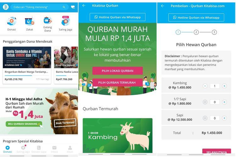 Fitur qurban digital di Kitabisa.com untuk mempermudah pengguna membayar qurban.