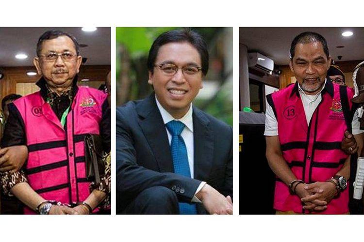Kolase foto 3 eks petinggi PT Asuransi Jiwasraya (dari kiri ke kanan) eks Direktur Utama PT Asuransi Jiwasraya Hendrisman Rahim, eks Direktur Keuangan Jiwasraya Harry Prasetyo, dan eks Kepala Divisi Investasi dan Keuangan Jiwasraya Syahmirwan.