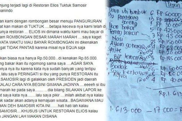 Tangkapan layar keluhan wisatawan di Samosir