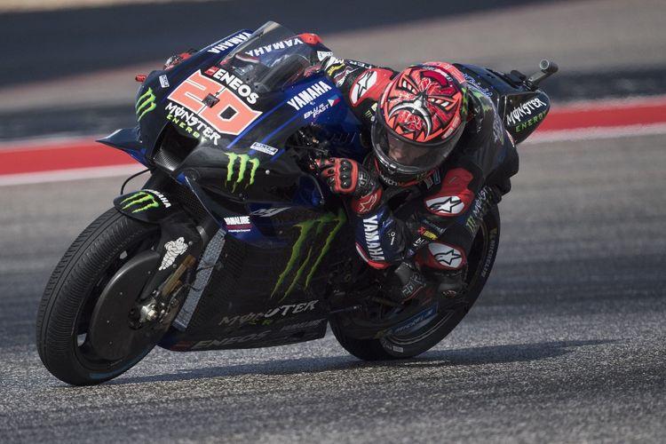 Fabio Quartararo saat berlaga pada MotoGP Amerika 2021.   Mirco Lazzari gp/Getty Images/AFP (Photo by Mirco Lazzari gp / GETTY IMAGES NORTH AMERICA / Getty Images via AFP)