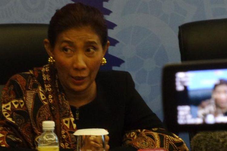 Menteri Kelautan dan Perikanan Susi Pudjiastuti dalam konferensi pers di Bali Nusa Dua Convention Center di Bali, Rabu (9/11/2016).
