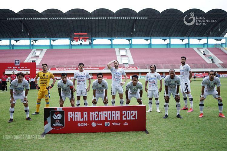 Skuad Bali United pada laga ketiga babak penyisihan Grup D Piala Menpora 2021 di Stadion Maguwoharjo Sleman, Jumat (02/04/2021) sore.