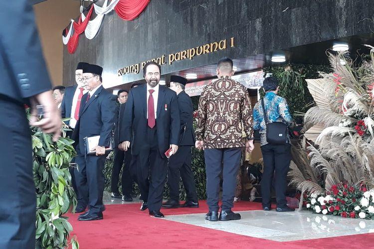 Ketua Umum Partai Nasdem saat menghadiri pelantikan presiden dan wakil presiden terpilih di Gedung DPR/MPR pada Minggu (20/10/2019).