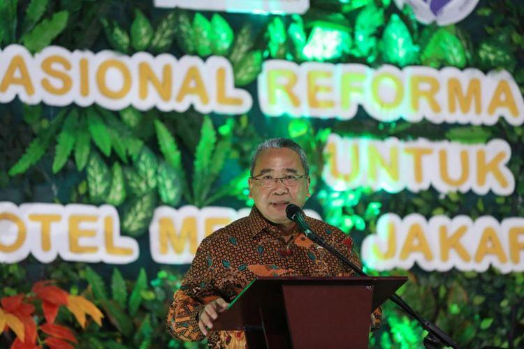 Menteri Desa PDTT, Eko Putro Sandjojo menyampaikan sambutan dalam Rembug Nasional Reforma Agraria di Hotel Media Jakarta,, Rabu (19/9/18)