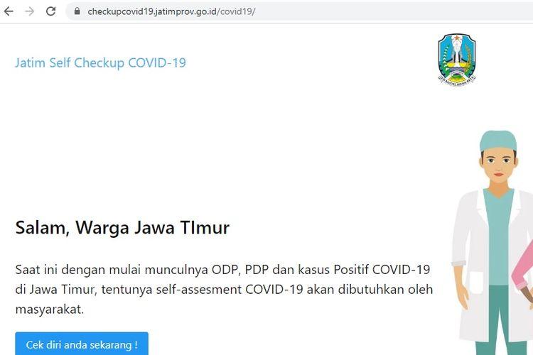 Pemerintah Provinsi Jawa Timur meluncurkan laman untuk mendeteksi diri dari wabah virus Covid-19 di Gedung Negara Grahadi di Surabaya, Rabu (18/3/2020). Laman tersebut bernama checkupcovid19.jatimprov.go.id.