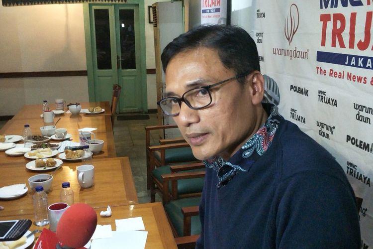 Direktur Pencapresan DPP Partai Keadilan Sejahtera (PKS) Suhud Aliyudin saat ditemui seusai menjadi pembicara dalam diskusi Polemik MNC Trijaya, di kawasan Cikini, Jakarta Pusat, Sabtu (28/7/2018).
