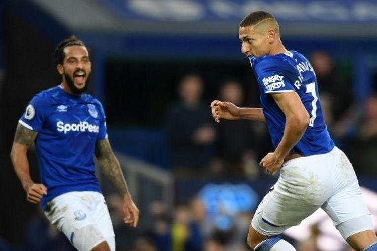 Richarlison ketika sukses mencetak gol pada laga Everton vs Brighton, Sabtu (11/1/2020) malam WIB.