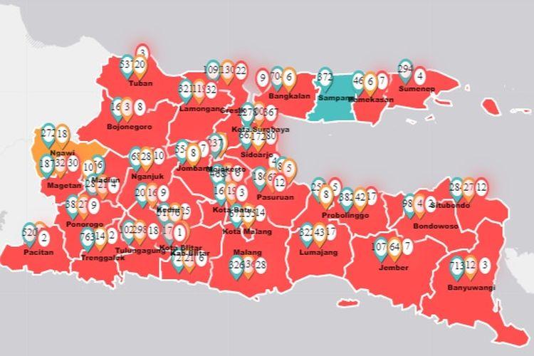 Dari 38 kabupaten dan kota di Jawa Timur, hanya Kabupaten Sampang masih berstatus zona hijau. Adapun 28 kabupaten dan 9 kota lainnya, masuk ke dalam zona merah dan zona kuning Covid-19.