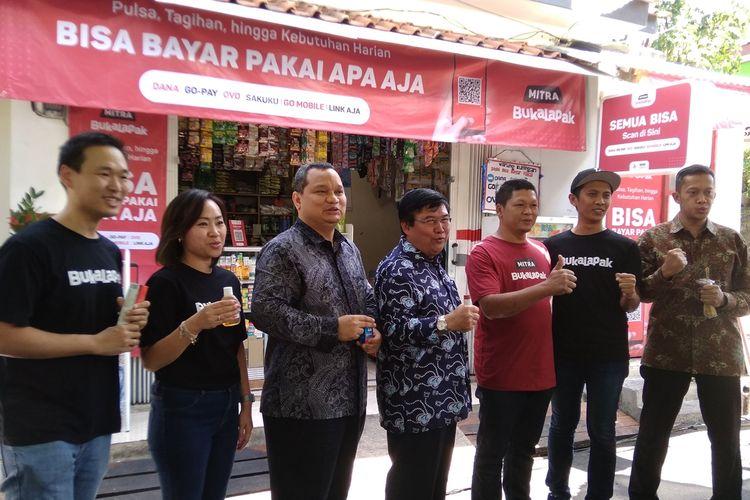 Konferensi pers penerapan QRIS di 1.000 mitra Bukalapak Kemang di Jakarta, Rabu (21/8/2019)