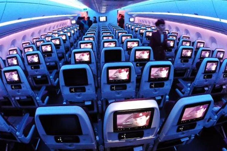 Konfigurasi kelas Ekonomi yang tetap lega di pesawat A350 Qatar Airways, dengan pengaturan kursi 3-3-3.