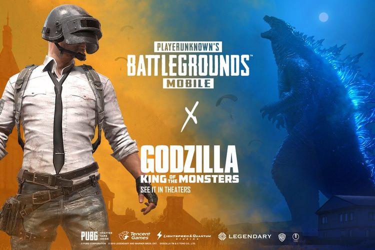 Ilustrasi poster PUBG Mobile dengna Godzilla