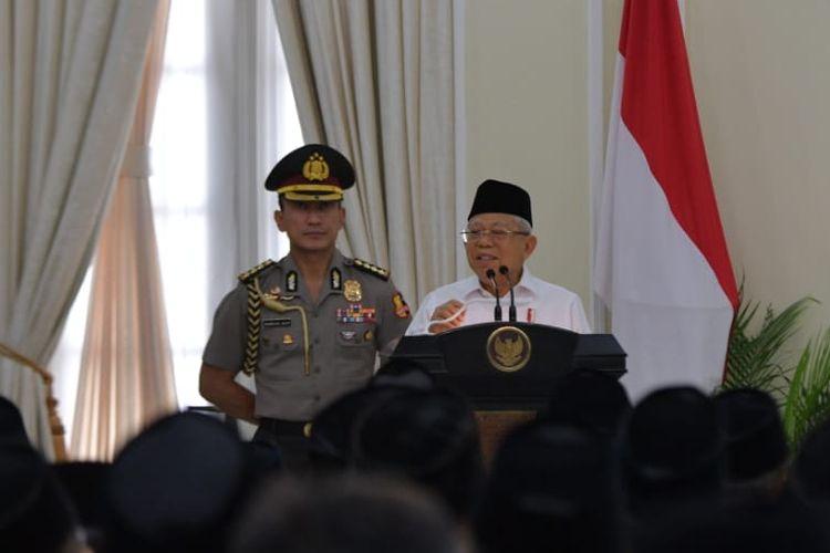 Wakil Presiden Maruf Amin saat membuka rakornas Ikadi di Istana Wapres, Jalan Medan Merdeka Selatan, Jakarta, Senin (9/3/2020).
