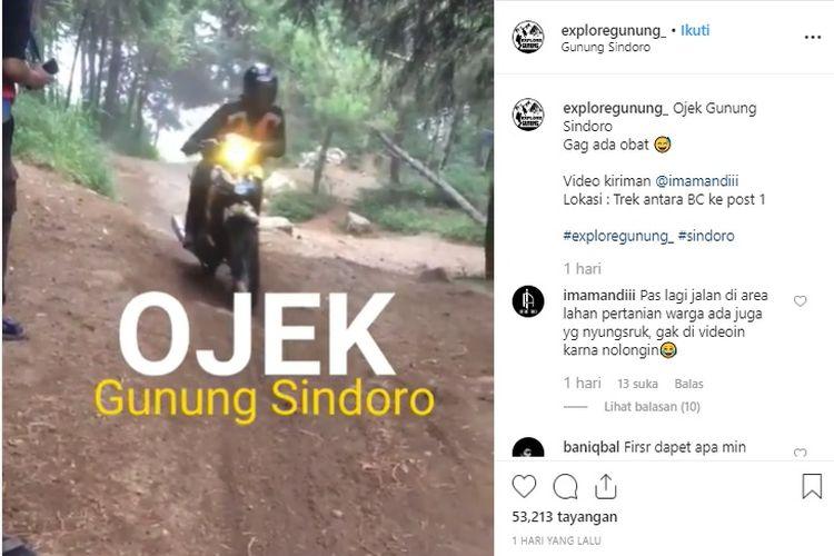 Viral ojek gunung di jalur Kledung, Gunung Sindoro.
