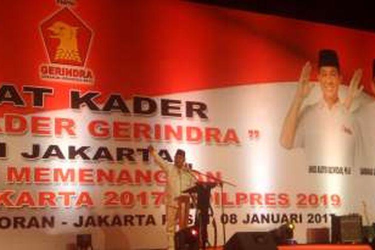Ketua Partai Gerindra Prabowo Subianto saat memberikan pengarahan kepada kader Gerindra di JIExpo, Jakarta Pusat, Minggu (8/1/2017)