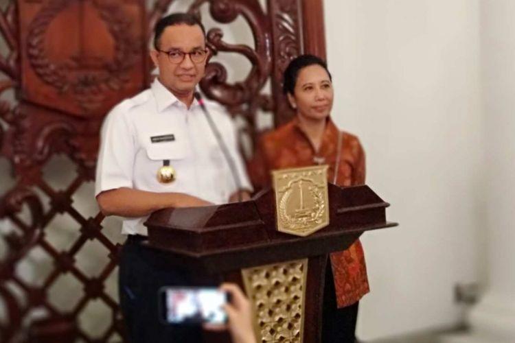 Gubernur DKI Jakarta Anies Baswedan dan Menteri BUMN Rini Soemarno di Balai Kota, Rabu (10/1/2018).