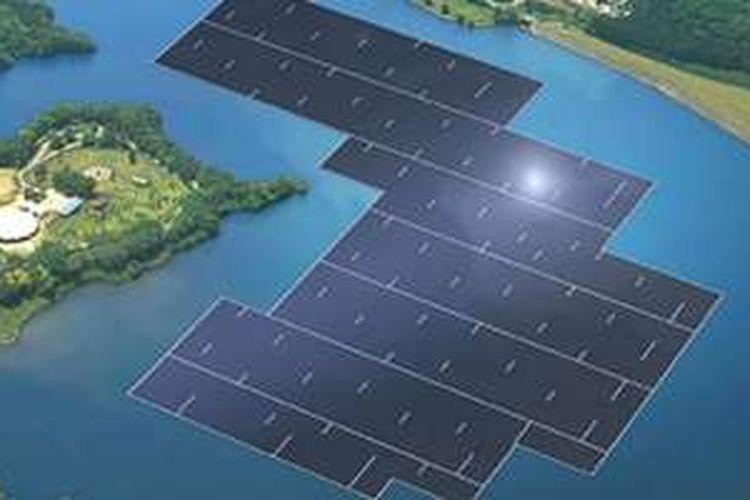 Pembangkit listrik tenaga surya mengapung di Jepang.