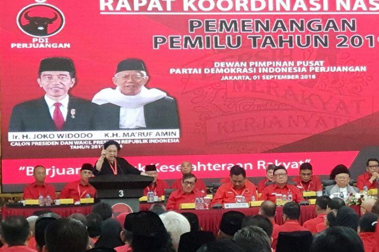Ketua Umum PDI-P Megawati Soekarnoputri saat membuka rakornas PDI-P di Jakarta, Sabtu (1/9/2018).