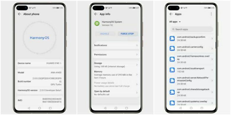 Tampilan laman pengaturan About phone, App info, dan daftar aplikasi di HarmonyOS 2.0.