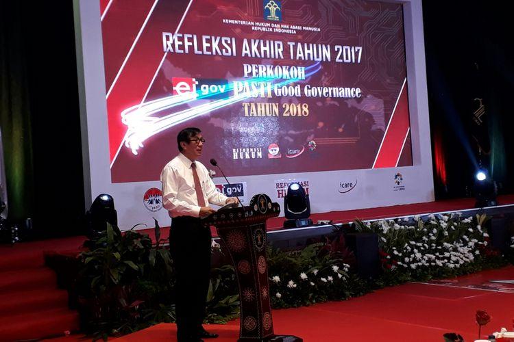 Menteri Hukum dan Hak Asasi Manusia Yasonna Laoly pada sambutan acara refleksi akhir tahun Kementerian Hukum dan HAM 2017, di kantor Kemenkum HAM, Kuningan, Jakarta, Rabu (20/12/2017).